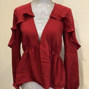 NWT * Lovers + Friends Ruffle Blouse